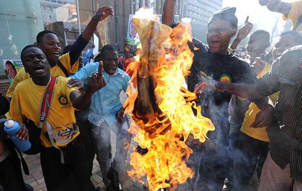 Contemporary: Supporters of the ANC Youth League President Julius Malema, gather during clashes with police forces