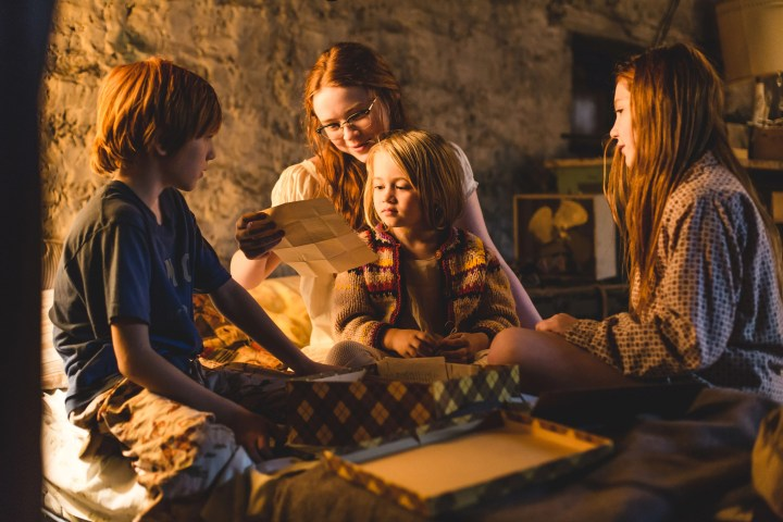 "From L to R: Charlie Shotwell as ""Young Brian,"" Sadie Sink as ""Young Lori,"" Eden Grace Redfield as ""Youngest Maureen"" and Ella Anderson as ""Young Jeannette"". Photo by Jake Giles Netter."