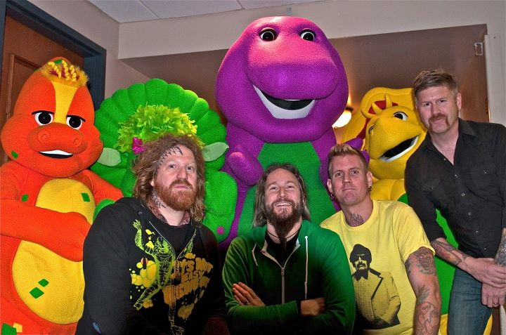 Mastodon pictured with Barney and friends