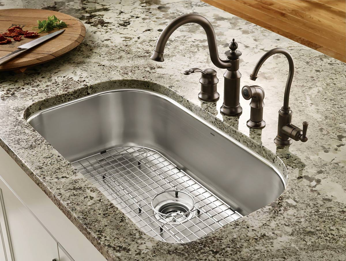 plumbing fixtures for the kitchen single bowl kitchen sink Moen undermount single bowl sink with Waterhill faucet with side spray and Sip traditional filtered water dispenser