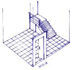 風生水起──好運來。樓梯對門的制法~樓梯應在何方。圖為樓梯對到門是很普通的問題,該如何化解呢?1. 移位。2. 隱藏。3. 遮蓋。