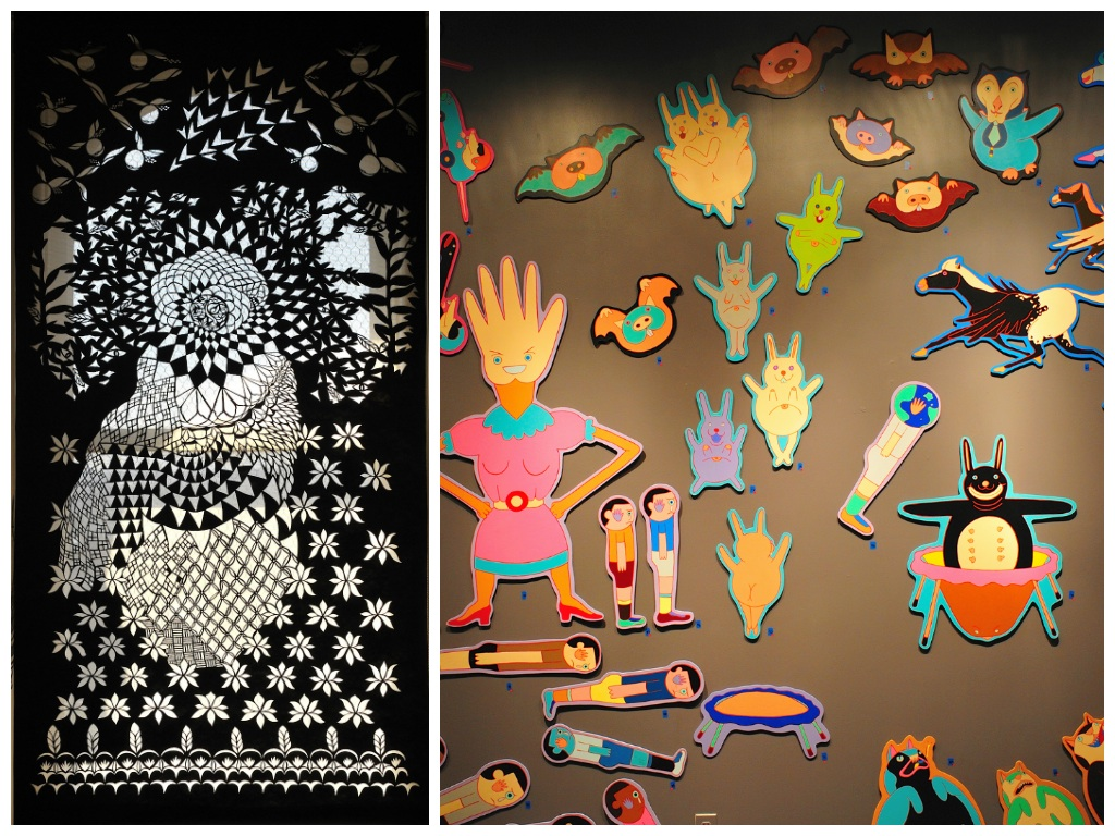 Vinyl cutouts from Zoe Friedman (left) and cartoon-style mural paintings by Andrew Liang (right) are part of