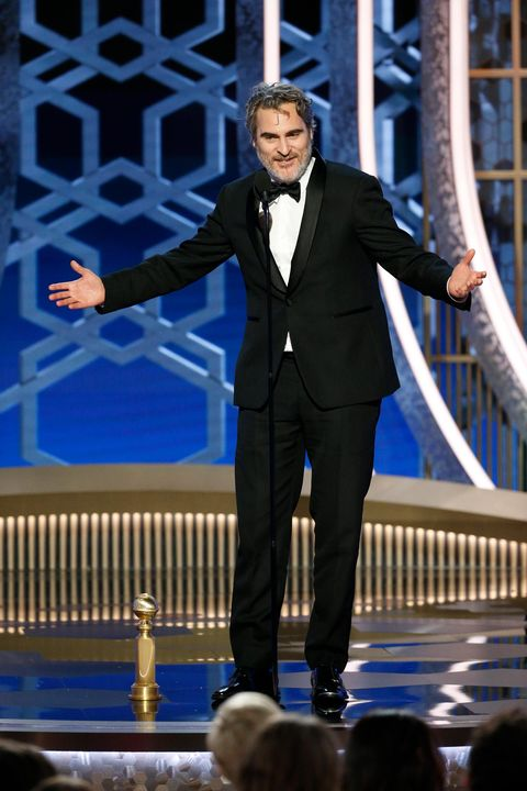 Joaquin Phoenix with Golden Globe for Best Actor in Motion Picture - Drama