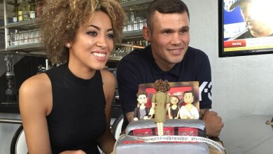 Photo of X Factor's rising star Kiera Weathers presented with a cake by Martin Murray