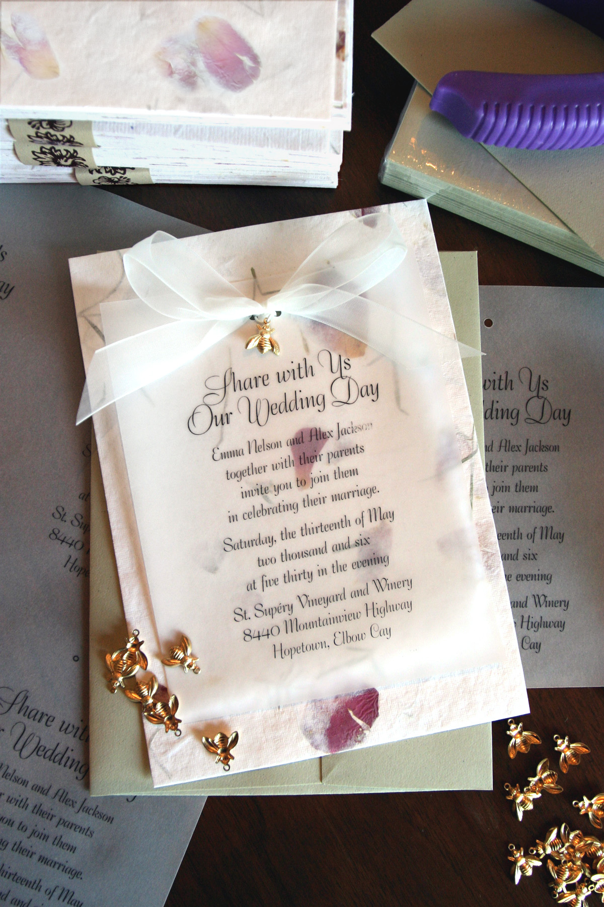 prweb wedding invitation paper Petal Paper Wedding Invitation with Bee CharmSample of rose petal paper wedding invitation with sheer ribbon and bee charm