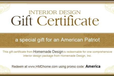 interior design gift certificate