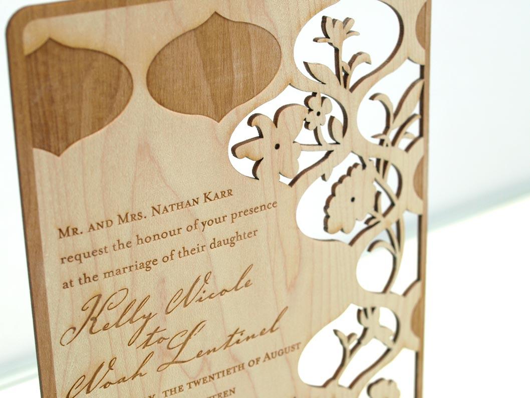 laser cut wood wedding invitations wood wedding invitations Real Wood Wedding Invitations By Invite Design Eco Friendly