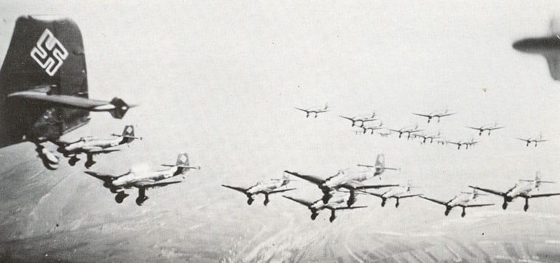 Swarm of junkers ju 87 stuka dive bombers