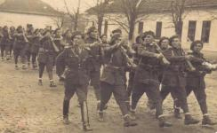 Romanian soldiers parading
