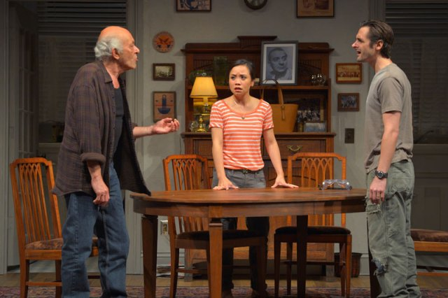 Mark Margolis (Gus), Tina Chilip (Sooze) and Joseph J. Parks (Vito) in The Intelligent Homosexual's Guide to Capitalism and Socialism with a Key to the Scriptures  at Berkeley Rep.