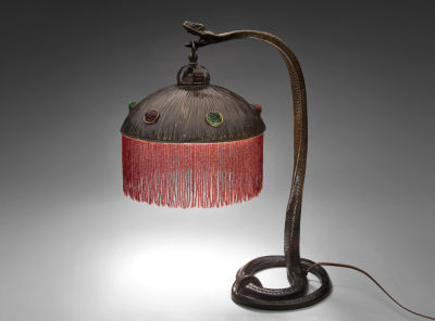 Snake lamp 1900 from Vienna, Austria. On loan at SFO from Age of Elegance in Mill Valley.