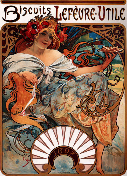Poster for Biscuits Lefèvre-Utile (1896), by Alphonse Mucha.