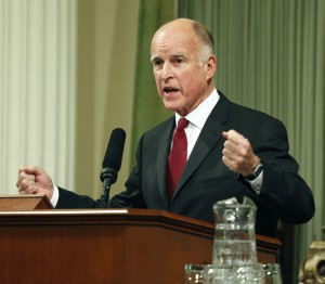 Gov. Jerry Brown delivers his State of the State address during a joint session of the California legislature at the Capitol in Sacramento, Calif., on Monday, Jan. 31, 2011. (Steve Yeater/AP)