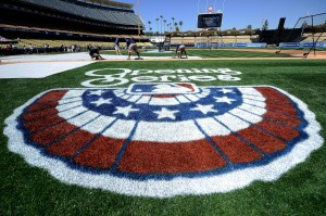 Opening Series logo on the grass at Dodgers Stadium.