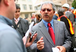 Ed Lee talks with members of the media on June 8, 2011 in San Francisco, California.