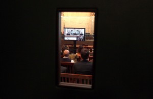 Reporters watch a telecast of the Prop. 8 trial.