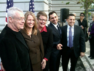 Plaintiffs in the lawusit against Prop 8 (Scott Shafer/KQED)
