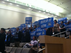 Fans of the San Jose Earthquakes packed the council chambers to urge the planning commission to approve the stadium. (Nina Thorsen/KQED)