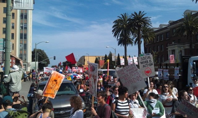 About 3,000 protesters march on International Boulevard.