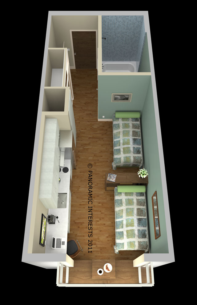Floor plan with a twin beds. Courtesy of Panoramic Interests.