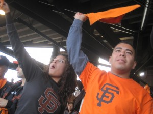Cheering on the Giants during the NLCS.