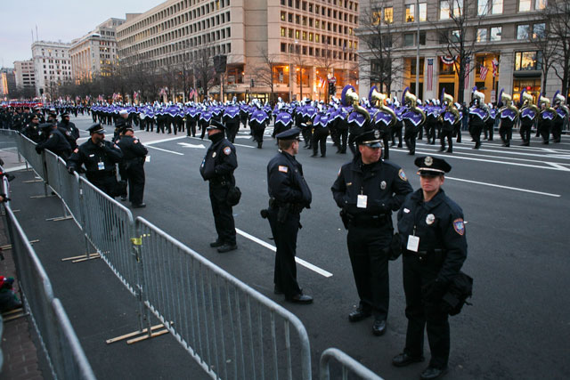 Members of the Lesbian and Gay Band Association march in the Inaugural Parade. (James Tensuan/NewsHour)