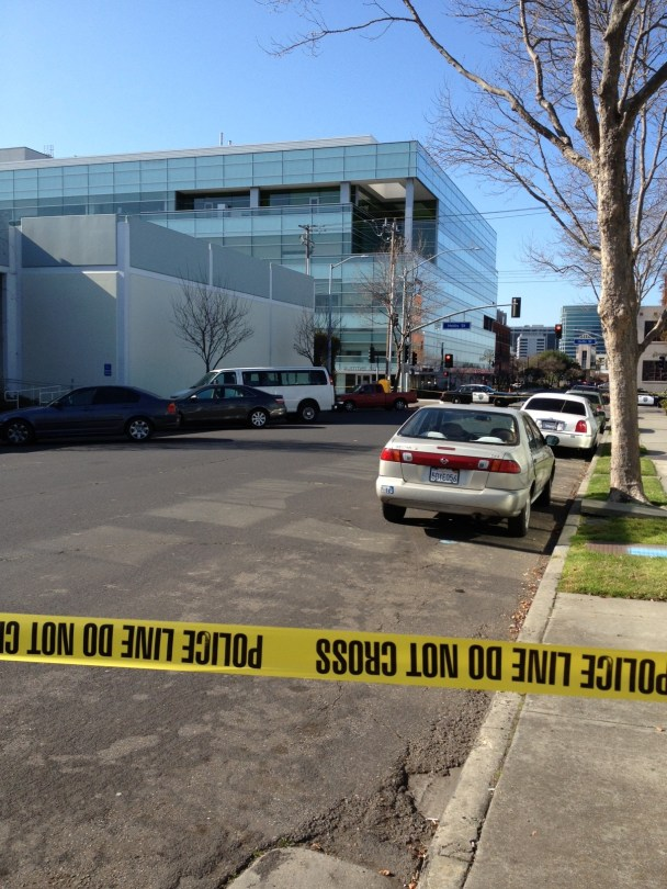 Police kept onlookers a block away from the evacuated building (Rachel Dornhelm/KQED)