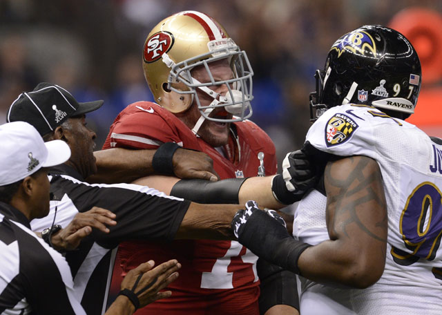 Much of the first half also was marked by skirmishes on the field. Here, Arthur Jones of the Ravens and Joe Staley of the 49ers scuffle. (TIMOTHY A. CLARY/AFP/Getty Images)