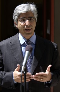 File photo. Theodore Boutros, Media attorney speaks at a press conference after the Michael Jackson's pre-trial hearing on June 25, 2004. (Joshua Gates Weisberg-Pool/Getty Images)