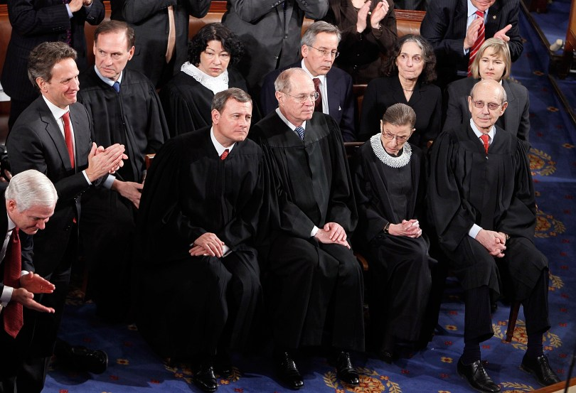 File photo. Members of the U.S. Supreme Court listen to U.S. President Barack Obama speak to both houses of Congress during his first State of the Union address. (Alex Wong/Getty Images)