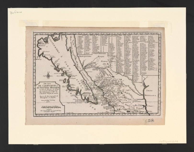 As time went on, Jesuit priests sent back increasingly detailed descriptions of the real (versus imaged) California, as this map from 1700 shows. (Credit: Stanford University)