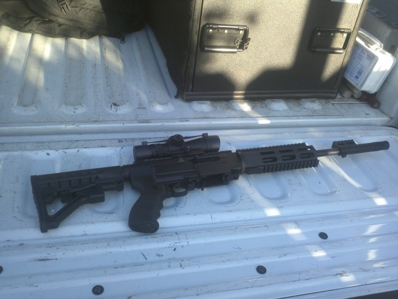 The 22-caliber Sturm Ruger semi-automatic rifle seized by state agents working in Modesto.  The weapon is one of thousands of illegal weapons confiscated from convicted felons and others who are barred from owning guns. (Elaine Korry/KQED)