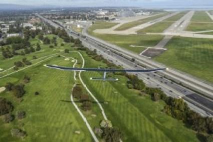 The Solar Impulse plane on a test flight near the San Francisco Bay.