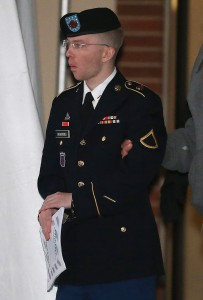 Bradley Manning, escorted from a hearing on Jan. 8, 2013. ( Mark Wilson/Getty Images)