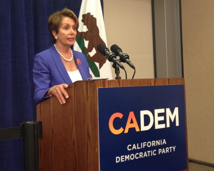 House Minority Leader Nancy Pelosi speaks to reporters in Sacramento