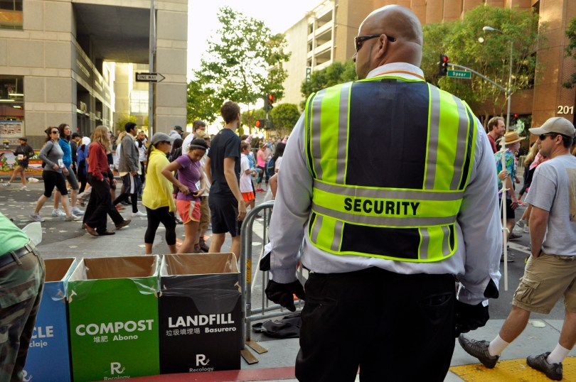 Security staff kept a watchful eye over the racers. (Lauren Benichou/KQED)