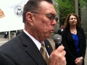 San Bruno Mayor Jim Ruane calls for maximum fine against PG&E. (Peter Jon Shuler/KQED)