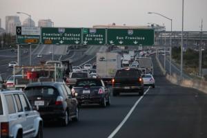 Traffic to the Bay Bridge began backing up around 6:30 a.m. Monday. (Deborah Svoboda/KQED)