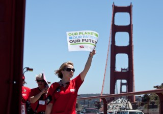 Nurses attending the National Nurses United conference took to the Golden Gate Bridge on June 20 to protest the Keystone XL Pipeline. from going forward. (Deborah Svoboda / KQED)