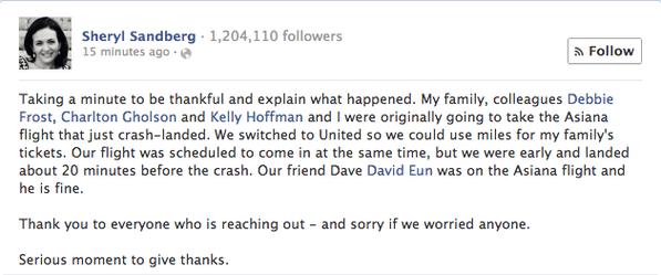 Facebook COO Sheryl Sandberg's Post.