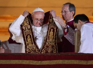 Newly elected Pope Francis I appears on the central balcony of St Peter's Basilica on March 13, 2013 in Vatican City, Vatican. (Photo by Peter Macdiarmid/Getty Images)
