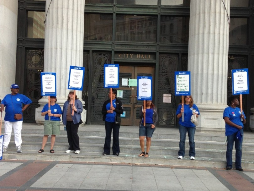 Oakland City workers on strike. (Tara Siler/KQED)