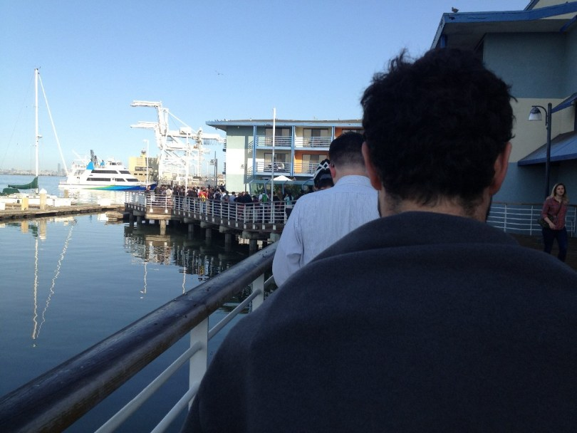 As the morning goes on, the ferry lines grow. (Matthew Williams/KQED)