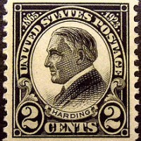 A commemorative stamp issued after President Warren G. Harding's death in San Francisco.