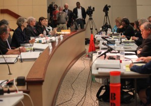 A panel of investigators listens to representatives of BART workers and management during a public hearing called by Gov. Jerry Brown to investigate the labor dispute. (Deborah Svoboda / KQED)