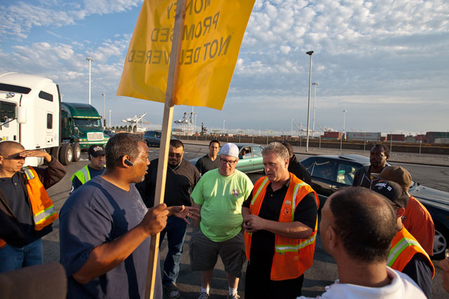 Independent truck drivers during an August protest at the Port of Oakland.