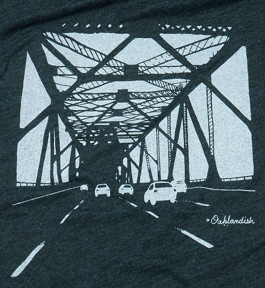 Detail of the Oakland Bridge t-shirt Carol Klammer designed for Oaklandish. (Courtesy of: Oaklandish)