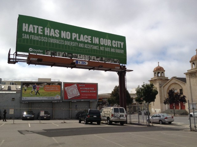 A billboard is now installed on 10th Street just south of Howard Street in San Francisco's South of Market neighborhood. It's intended as a counterpoint to anti-Islam ads that ran earlier this year on the sides of Muni buses. (Vinnee Tong/KQED)