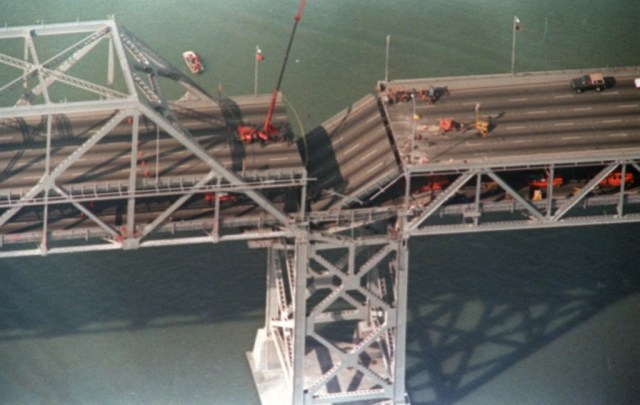 Collapsed section of Bay Bridge caused by 1989 Loma Prieta earthquake. (Gary Weber/AFP/Getty Images)