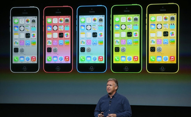 Phil Schiller, Apple's senior vice president of worldwide marketing, speaks about the new iPhone 5C, which comes in 5 colors. (klaus.nascimento/ Flickr)